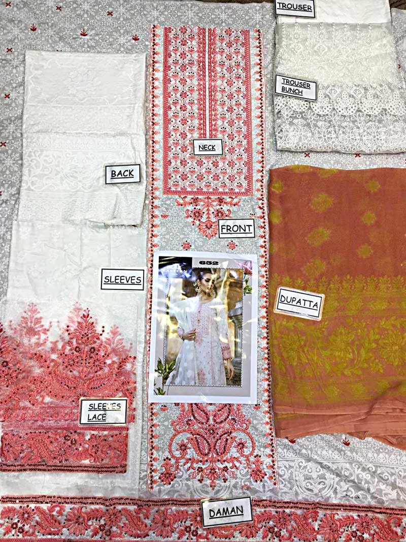 Embroidery Lawn Suit With Chiffon Dupatta & Lawn Trouser (DM MB 652 A) 0