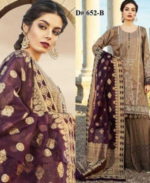 Embroidery Lawn Suit With Chiffon Dupatta Lawn Trouser DM MB 652 B 5.jpg
