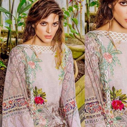 Embroidery Luxury Lawn With Net Dupatta Lawn Trouser DM SN 669 A 1.jpg