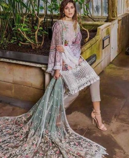 Embroidery Luxury Lawn With Net Dupatta Lawn Trouser DM SN 669 A 2.jpg