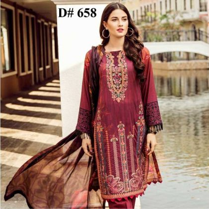 Embroidery Printed Lawn With Chiffon Dupatta Plain Trouser DM IZN 658.jpg