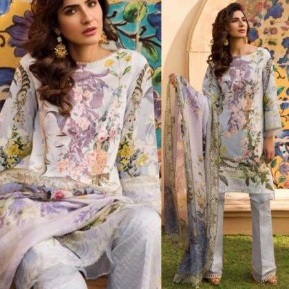 Front Heavy Embroidery Printed Lawn With Dupatta Lawn Trouser DM FL 646LD.jpg