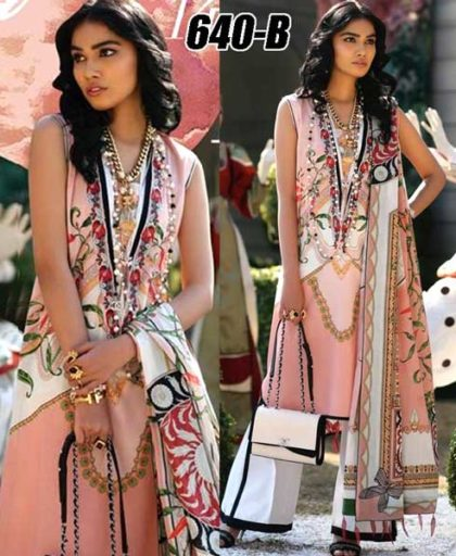 Lawn Suit With Chiffon Dupatta Cambric Trouser DM ZL 640 B.jpg