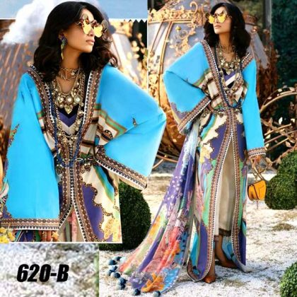 Lawn Suit With Chiffon Dupatta Lawn Trouser DM ZL 620 B.jpg