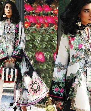Lawn Suit With Chiffon Dupatta Lawn Trouser DM ZL 651 B.jpg