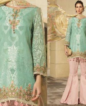 Lawn Suit With Chiffon Dupatta Printed Cambric Trouser DM MB 643 B.jpg