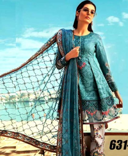 Lawn Suit With Net Dupatta Printed Cambric Trouser DM MB 631 A.jpg