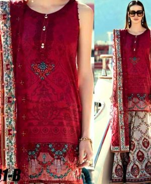 Lawn Suit With Net Dupatta Printed Cambric Trouser DM MB 631 B.jpg