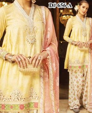 Luxury Embroidered Lawn Suit With Pure Organza Dupatta Lawn Trouser DM MB 656 A.jpg
