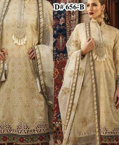 Luxury Embroidered Lawn Suit With Pure Organza Dupatta Lawn Trouser DM MB 656 B.jpg