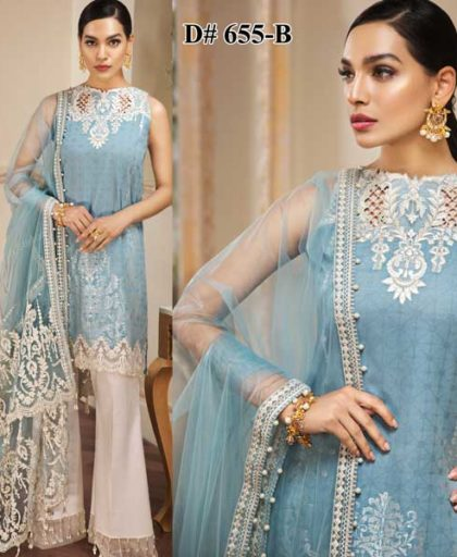 Luxury Lawn Net Dupatta Cutwork Embroidery On Daman Sleeves DM AN 655 B.jpg