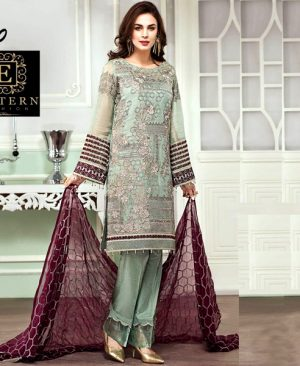 Mysore Suit Embroidered With Chiffon Dupatta Malai Trouser DM BAR 450.jpg