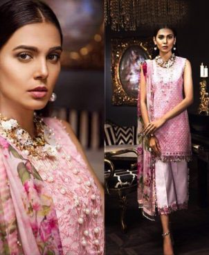 Organza Dress With Digital Silk Dupatta Embroidered DM SA 481.jpg