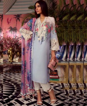 Printed Embroidery Lawn Suit With Lawn Dupatta DM SS 600 A.jpg
