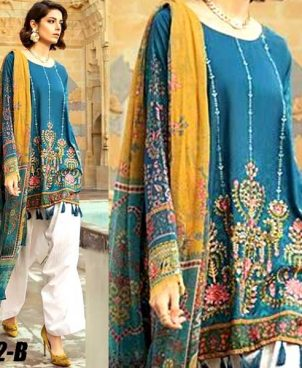 Printed Lawn Suit With Chiffon Dupatta Lawn Trouser DM MB 642 B.jpg
