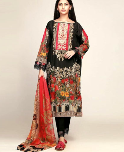 Printed Lawn Suit With Chiffon Printed Duppata Lawn Trouser DM KH 607 5.jpg