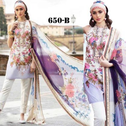 Printed Lawn Suit With Printed Chiffon Dupatta Cambric Trouser DM SS 650 B.jpg