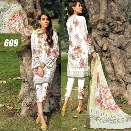Printed Lawn Suit With Trouser Bunches Embroidery DM BT 609.jpg
