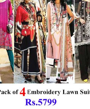 Special Summer Deal Of 4 Embroidery Lawn Suits 2019 Designs 642A 640A 640B 633A.jpg