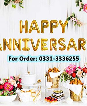 Happy Anniversary Alphabets Golden Foil Balloon Banner 16 Inch Each Letter Size