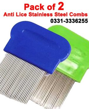 Pack Of 2 Stainless Steel Anti Lice Combs With Micro Grooved Teeth