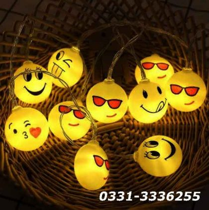 Emoji LED String Light   20 LED Emoji   3 Metter Length