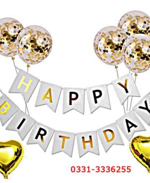Golden Happy Birthday Theme 8 Pieces