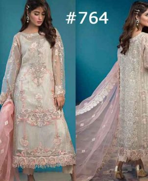 Sheeba Kapadia Luxury Embroidered Chiffon With Net Dupatta (DM SK  764)