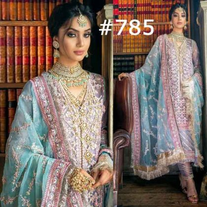 Sobia Nazir Embroidered Mirror Foil Work Net Dress (DM SN 785)